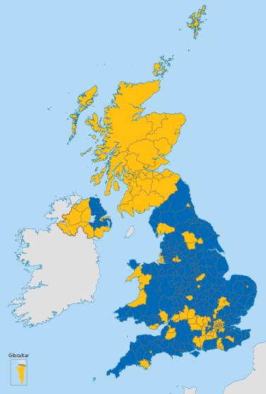 2016 referendum results by region